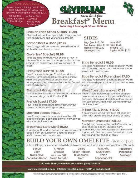 menu for Cloverleaf Sports Bar & Grill