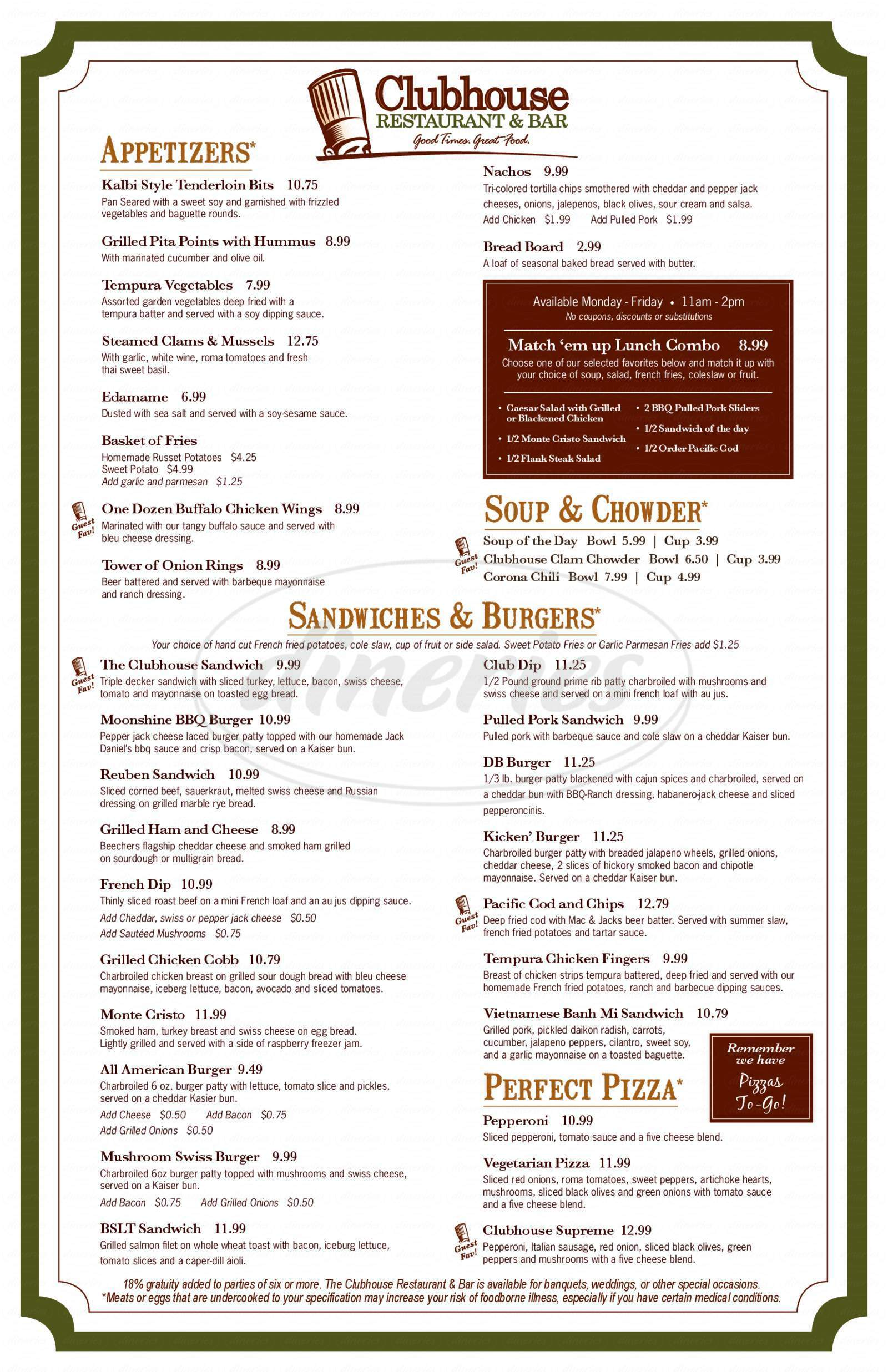 menu for Clubhouse Restaurant