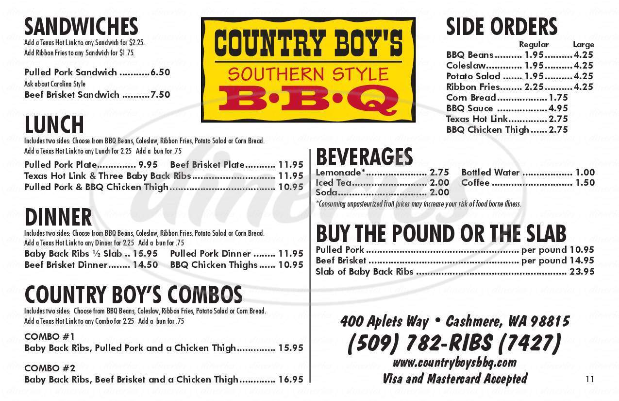 menu for Country Boy's BBQ
