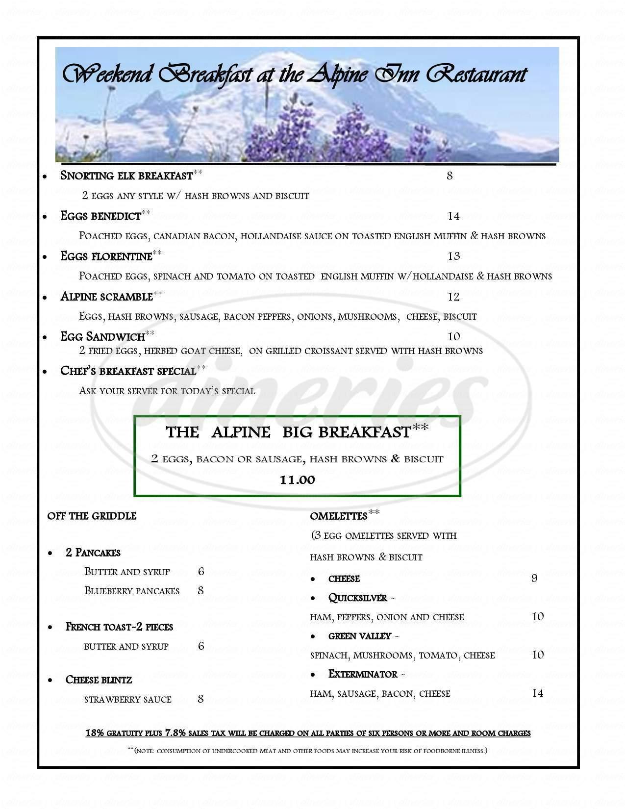 menu for Alpine Inn Restaurant