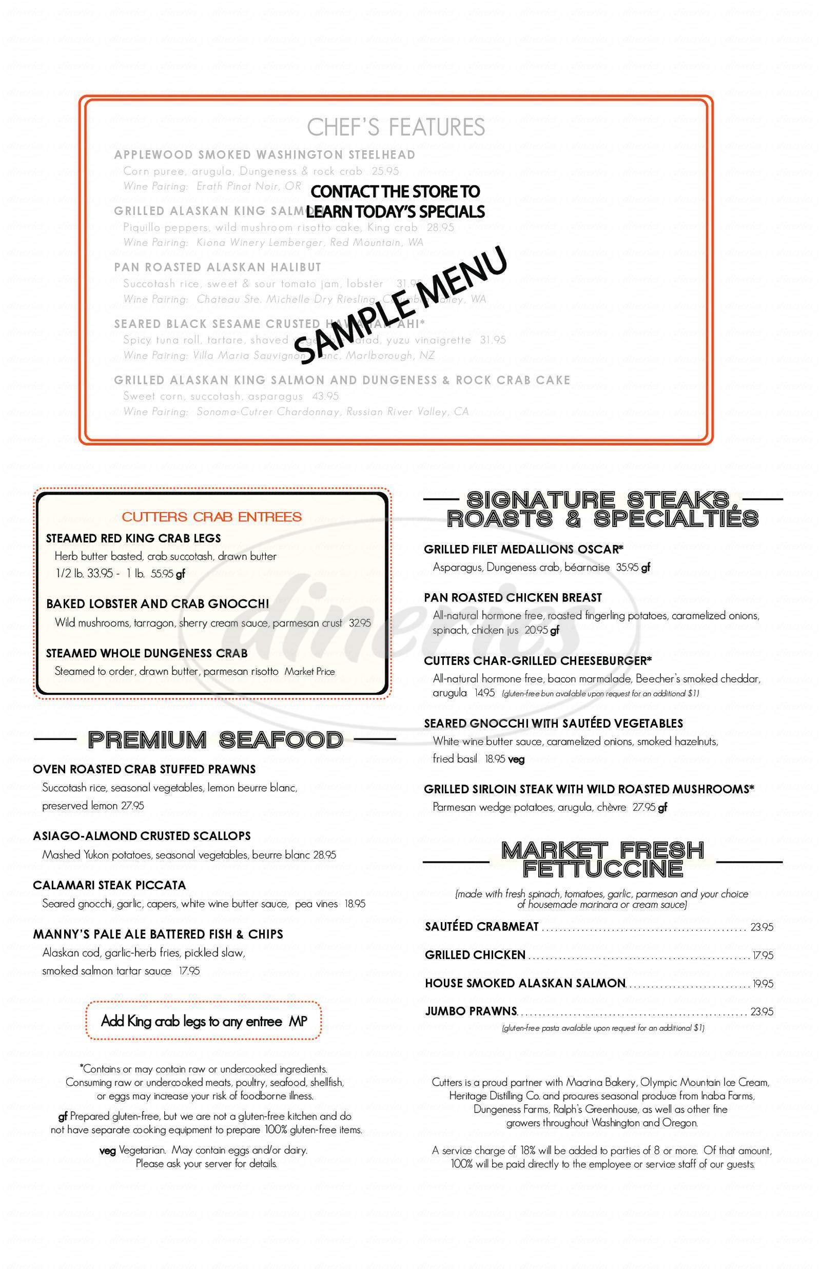 menu for Cutters Crabhouse