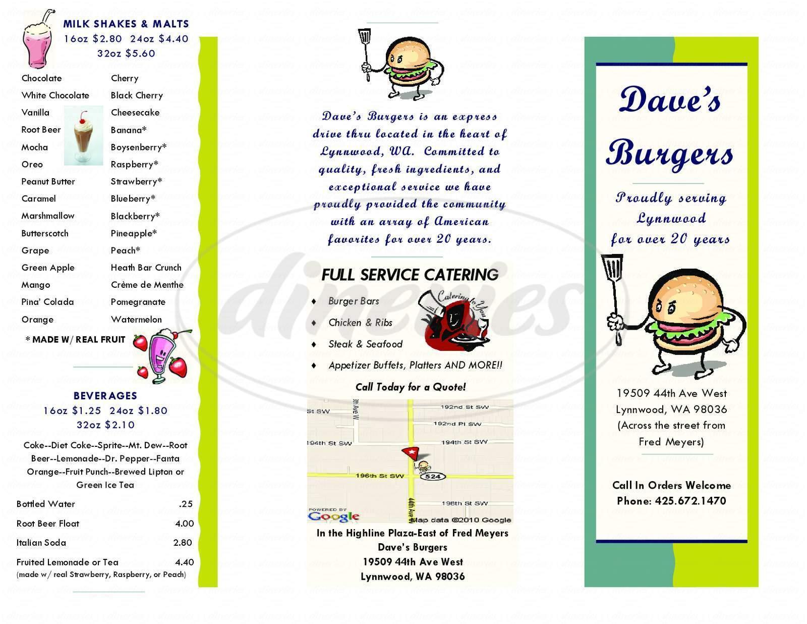 menu for Dave's Burgers