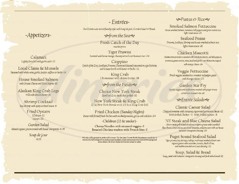 menu for Deer Harbor Inn Restaurant
