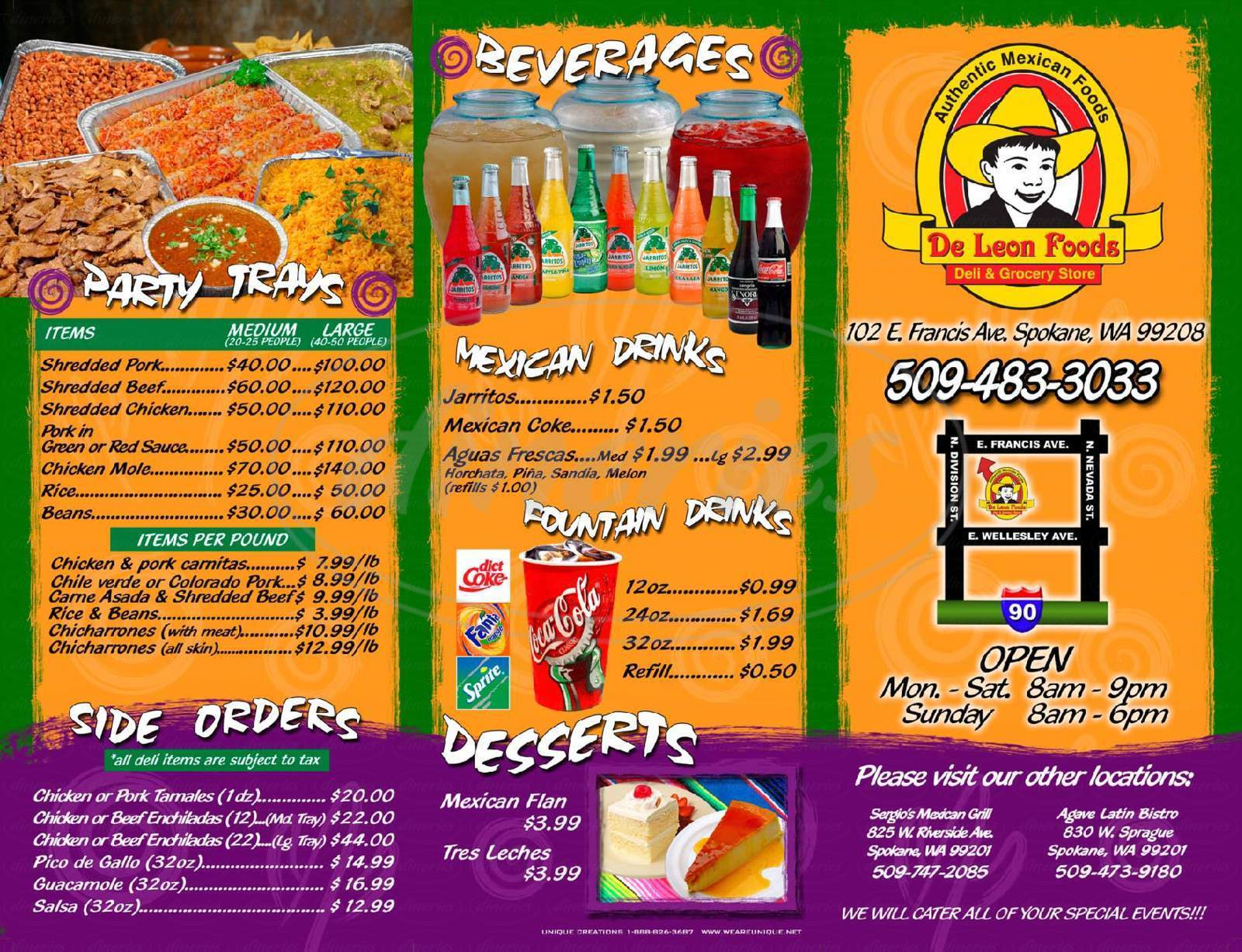 menu for De Leon Foods
