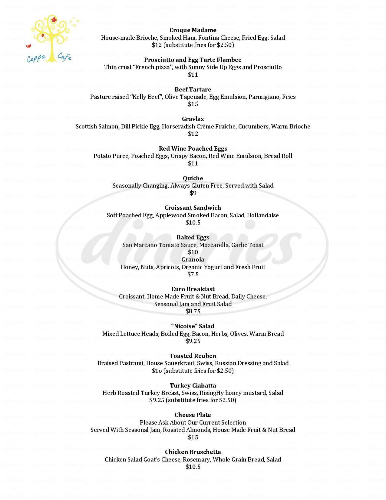 coppa cafe and bistro menu - flagstaff - dineries