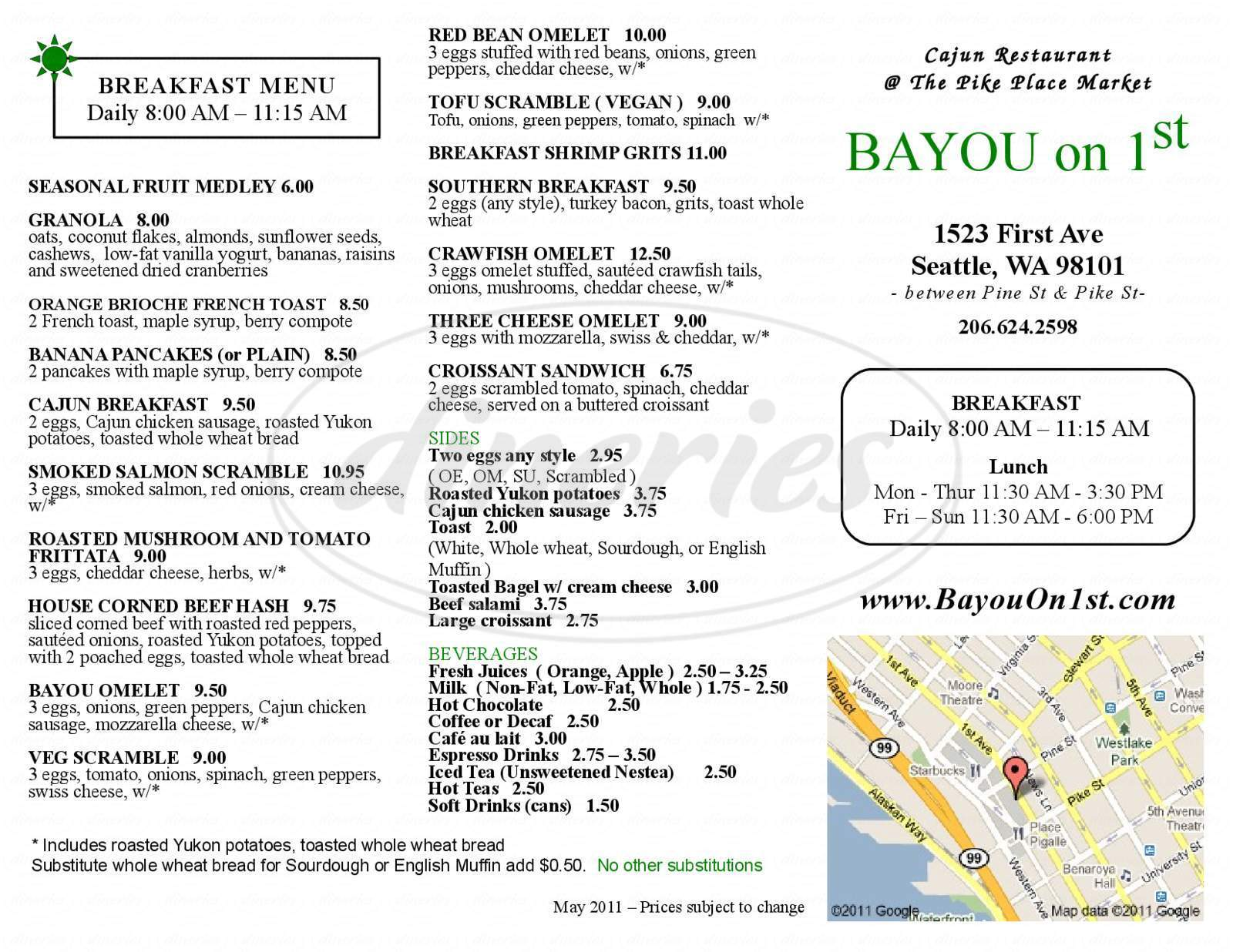 menu for Bayou On First