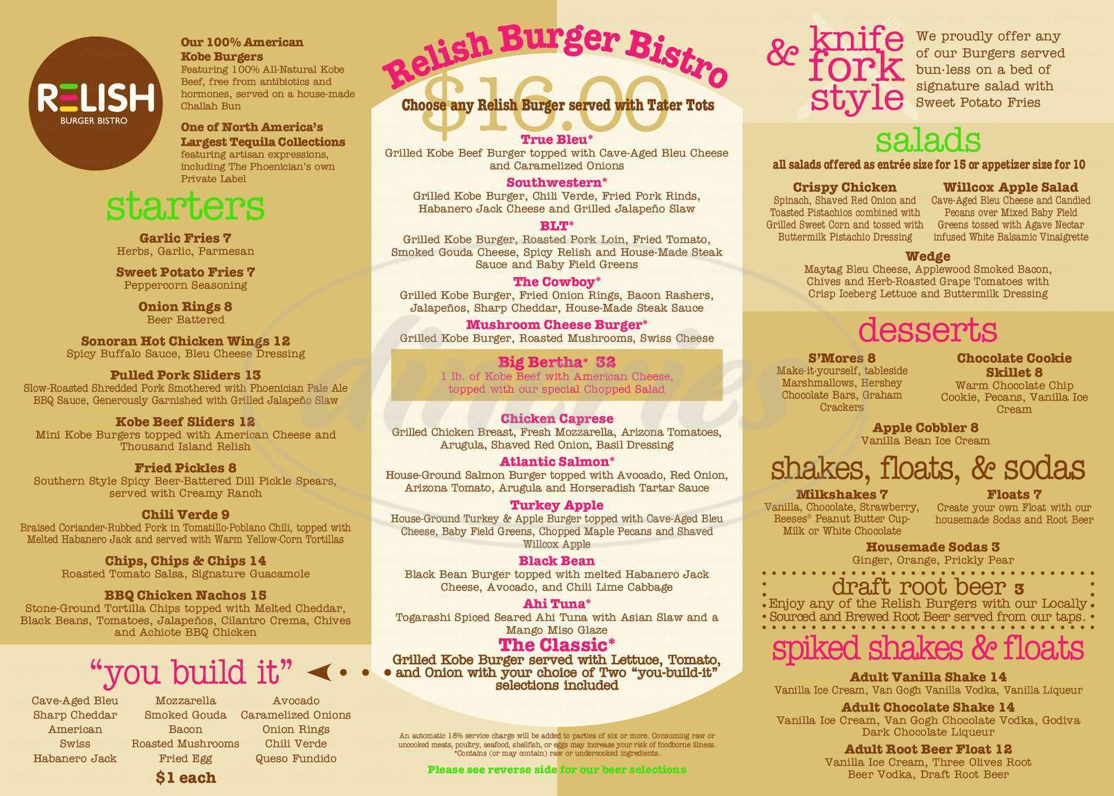 menu for Relish Burger Bistro