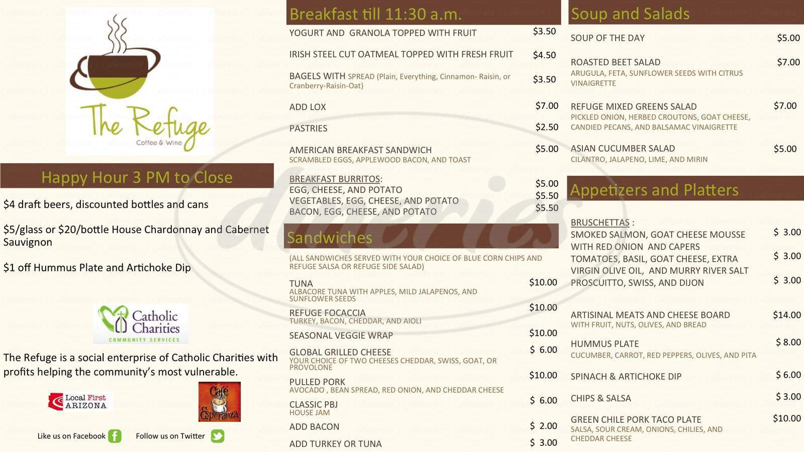 menu for The Refuge Cafe
