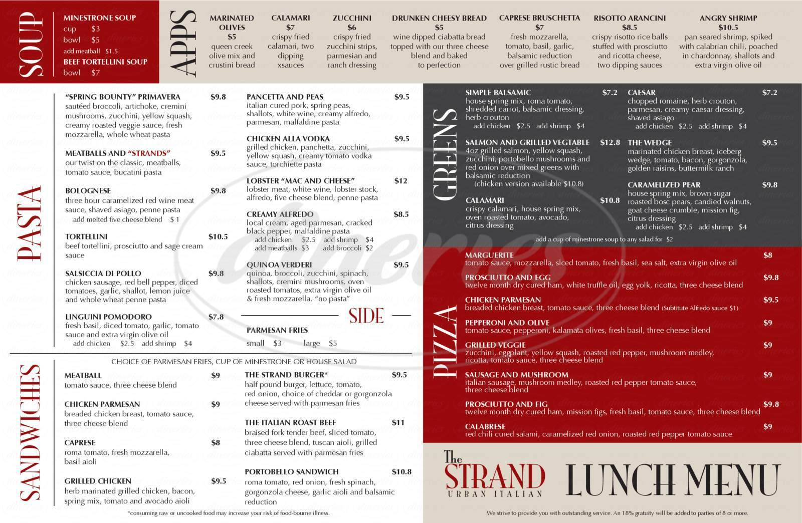 menu for The Strand