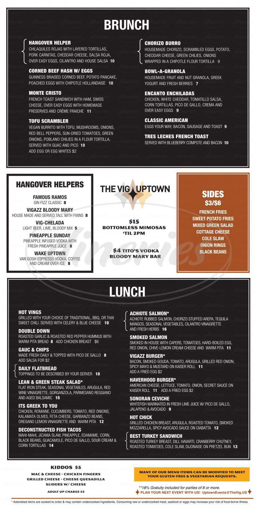 menu for The Vig Uptown