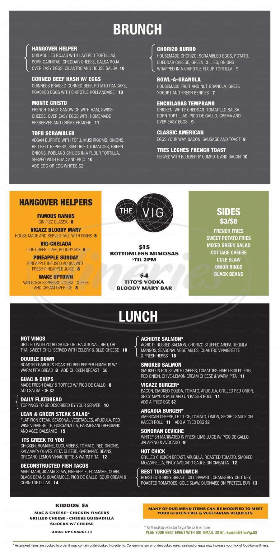 menu for The Vig