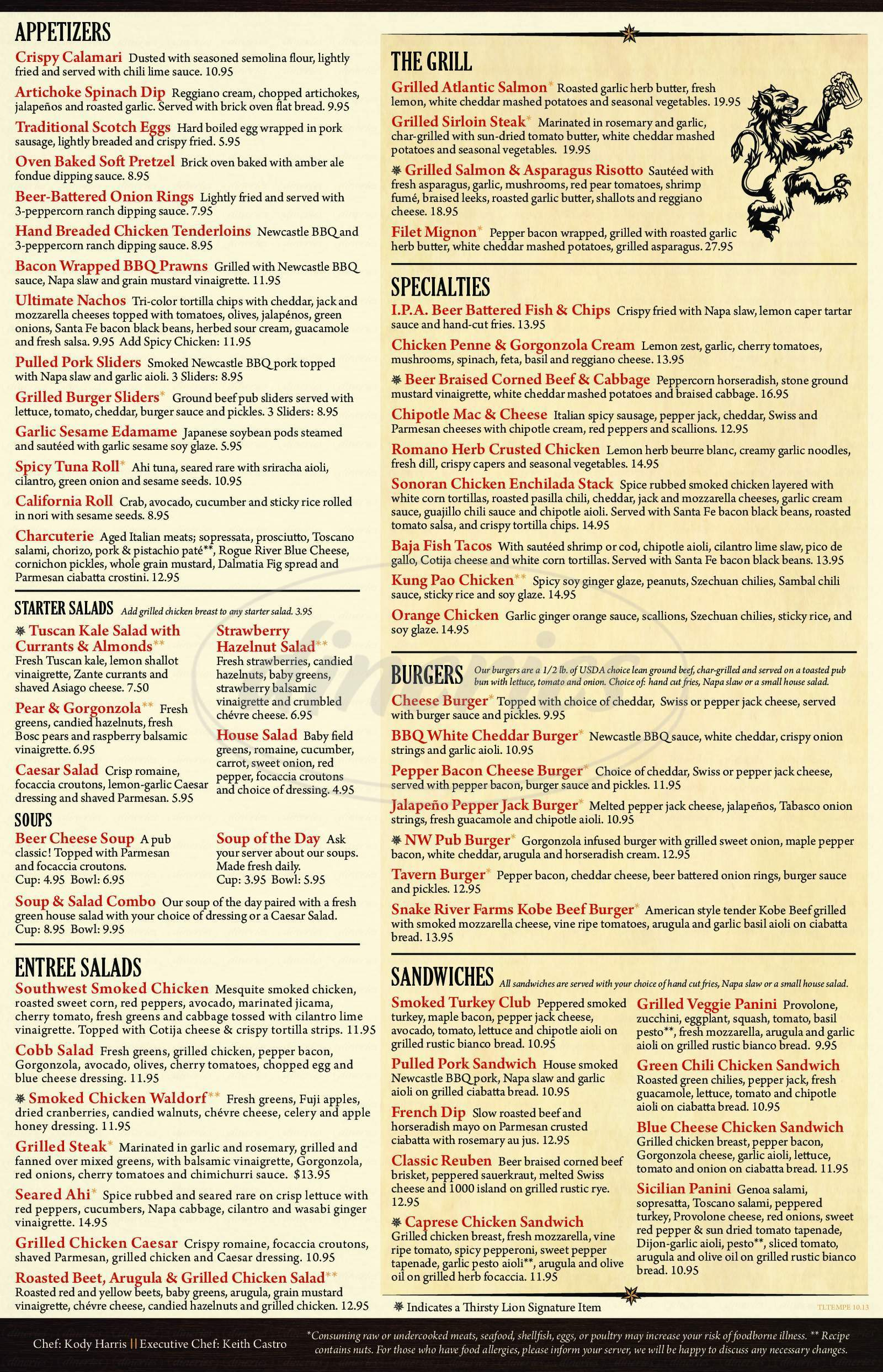 menu for Thirsty Lion Pub & Grill