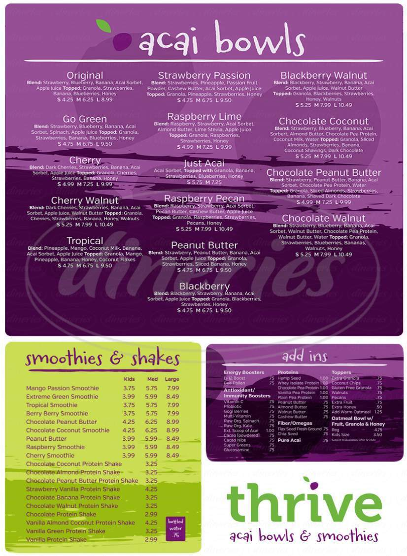 menu for Thrive Acai Bowls & Smoothies