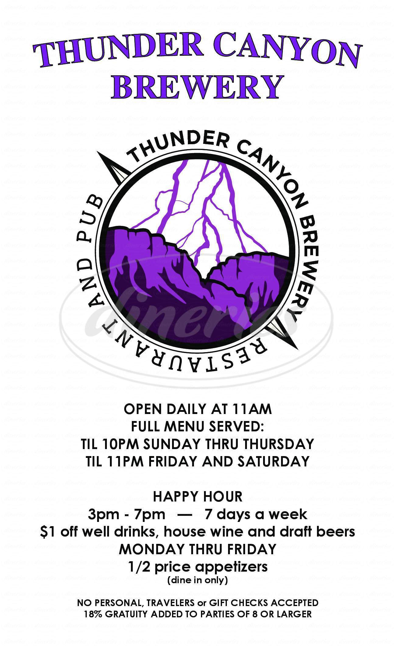 menu for Thunder Canyon Brewery