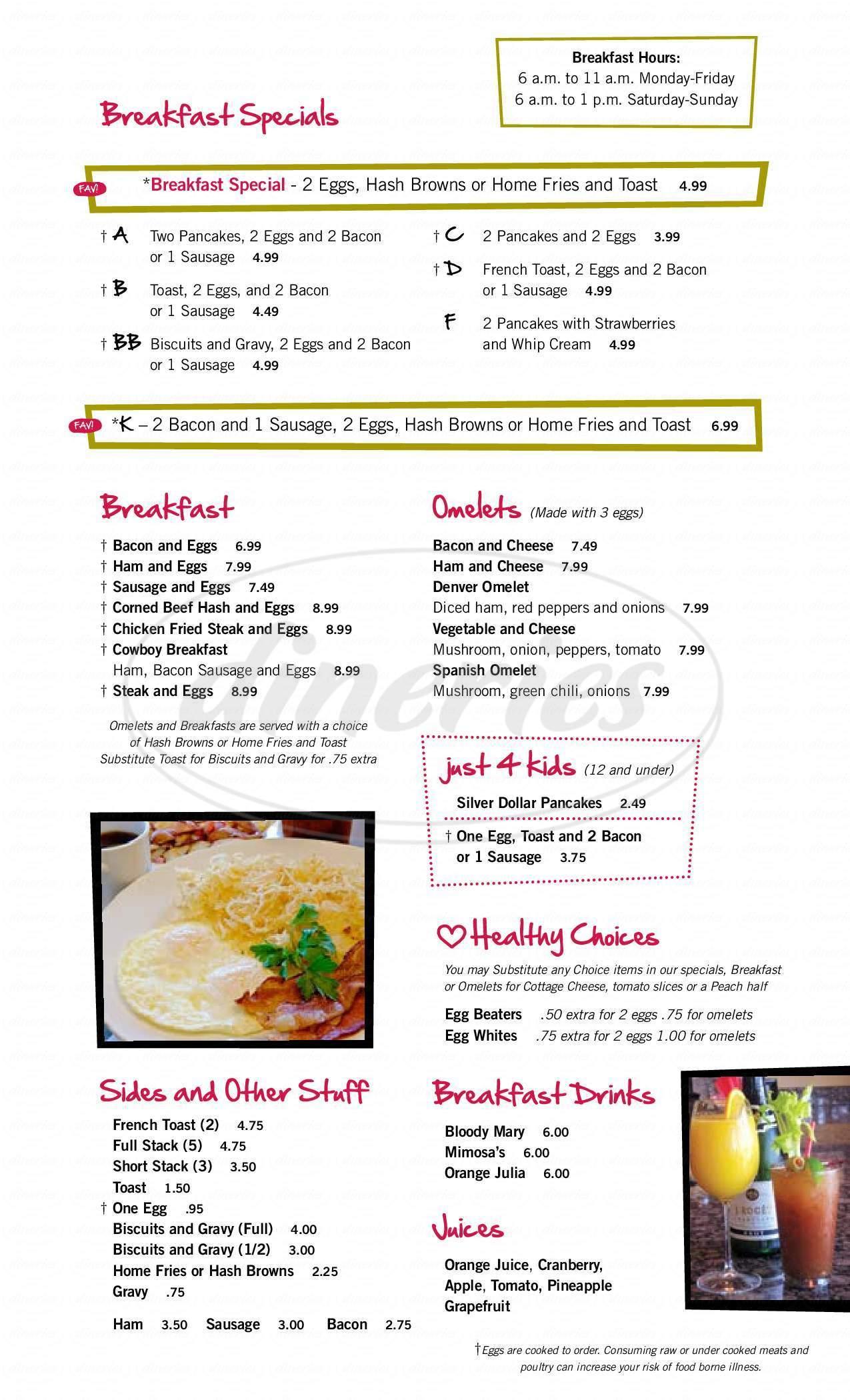menu for Times Square Pizzeria