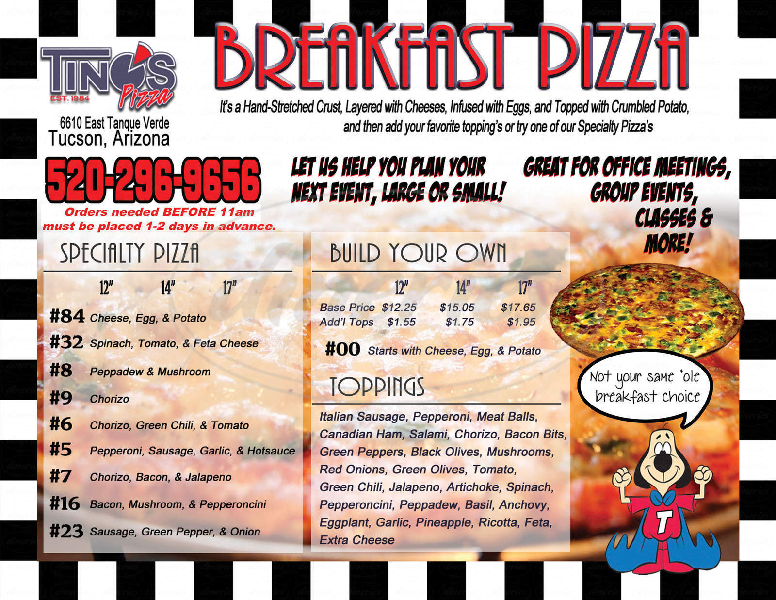 menu for Tino's Pizza