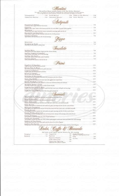 menu for Tiramisu Ristorante