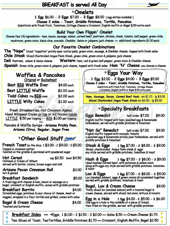 menu for Todd's Restaurant At Ryan Field