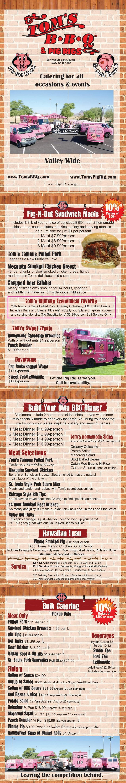 menu for Tom's BBQ