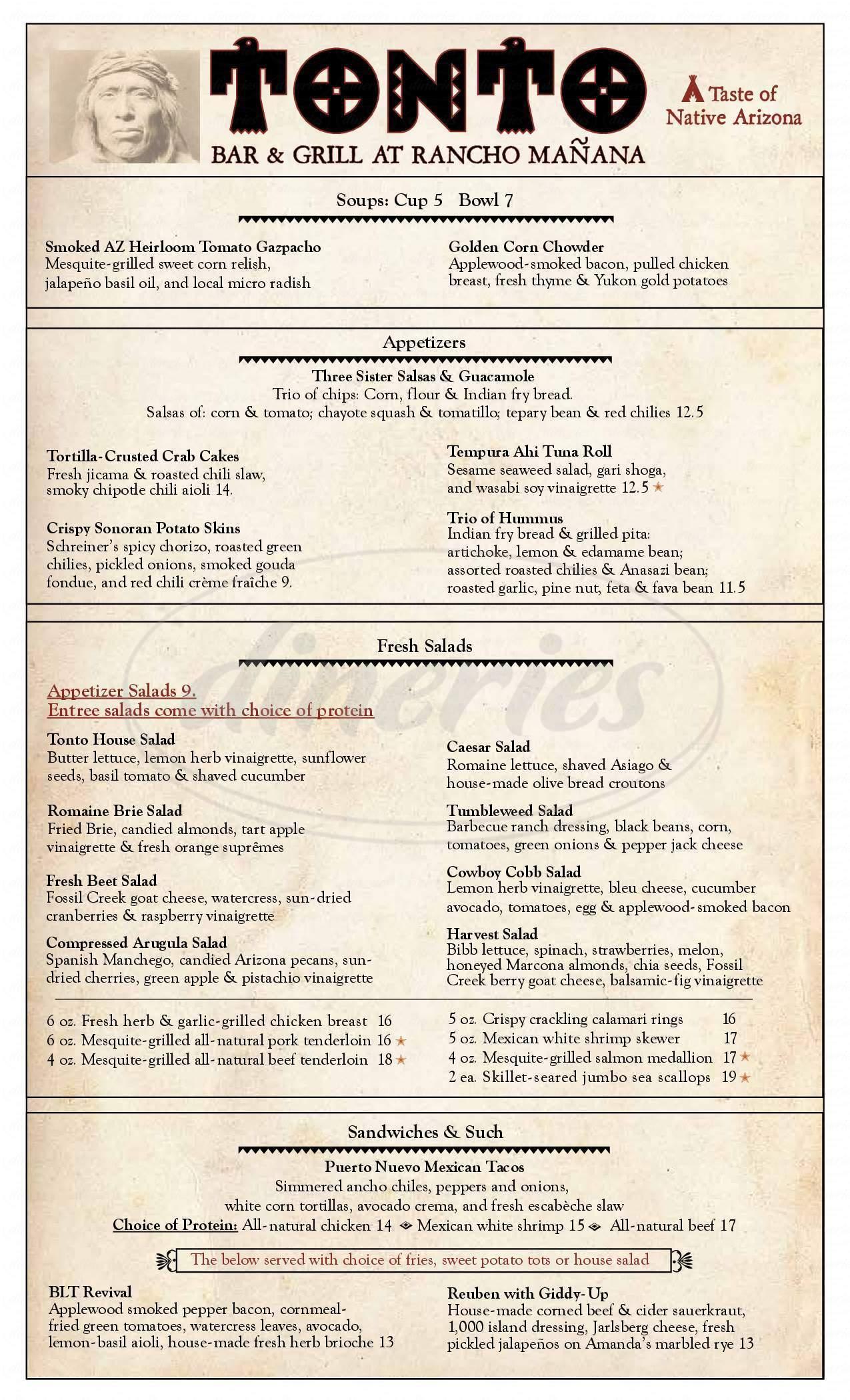 menu for Tonto Bar & Grill