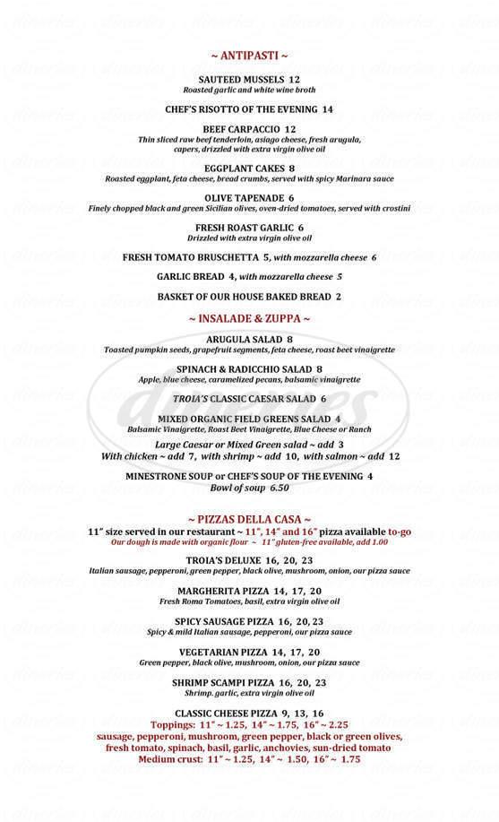 menu for Troia's Pizza Pasta Amore