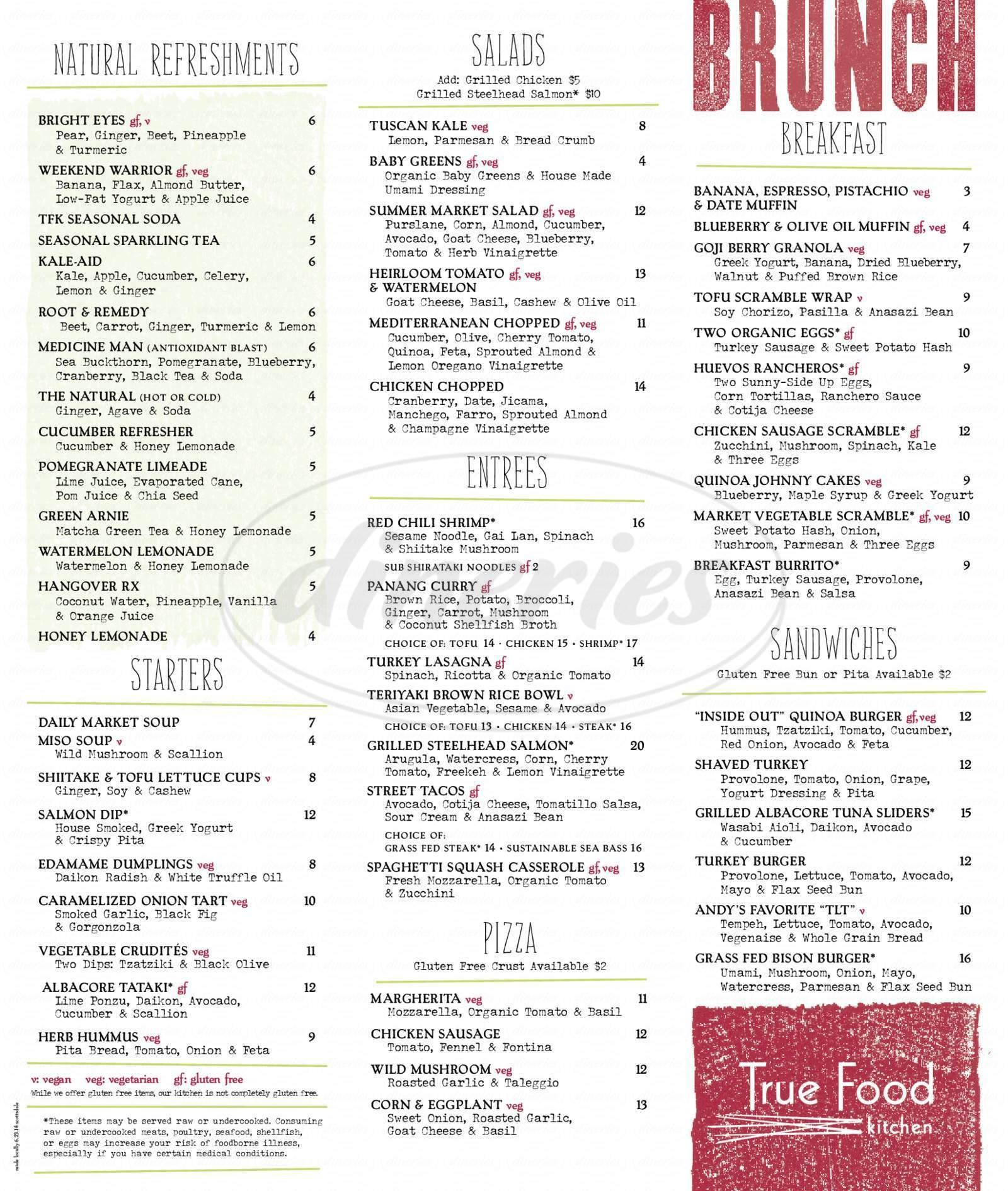 menu for True Food Kitchen