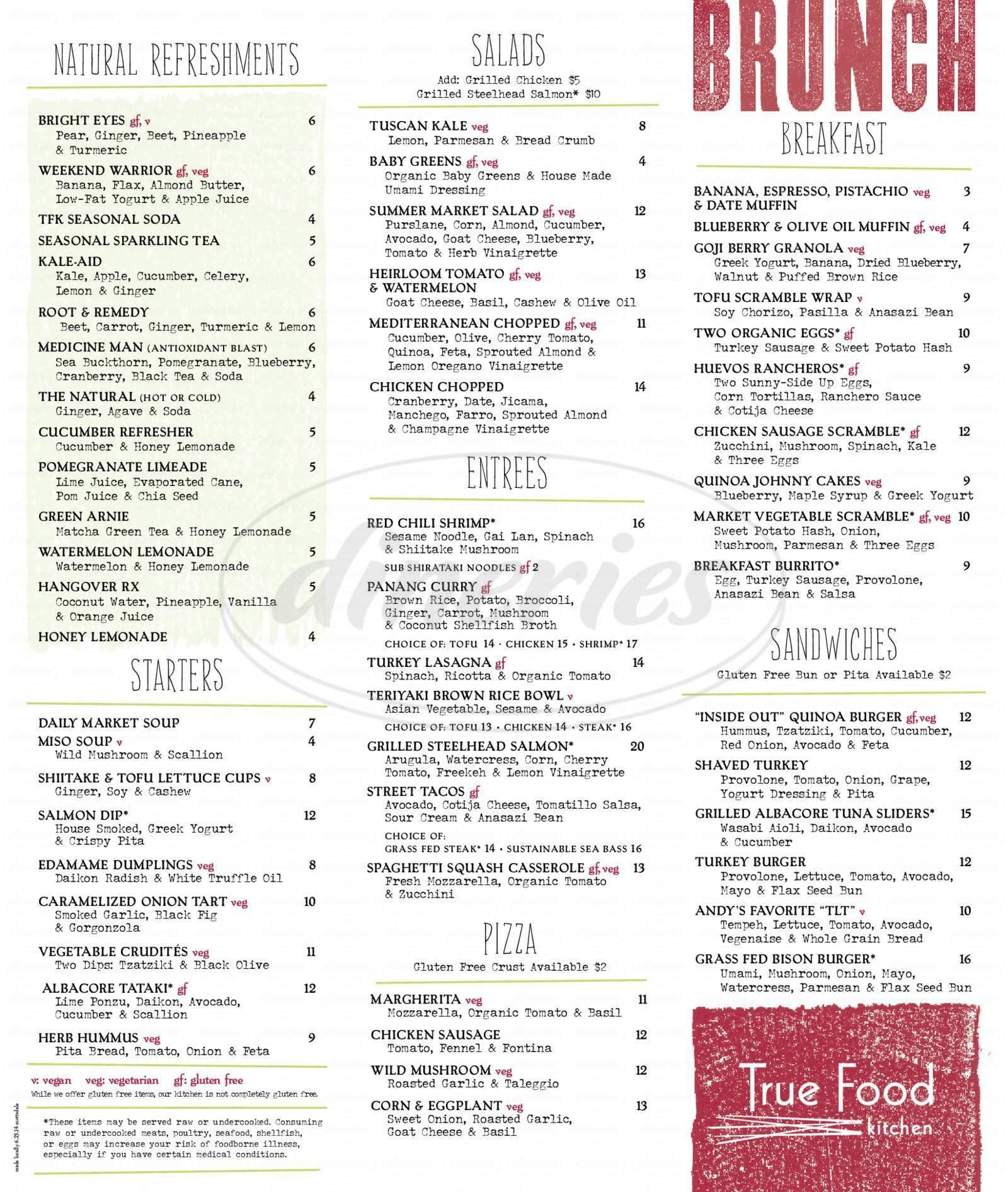 menu for True Food Kitchen