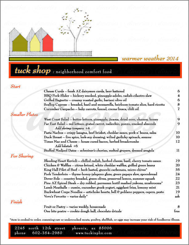 menu for Tuck Shop