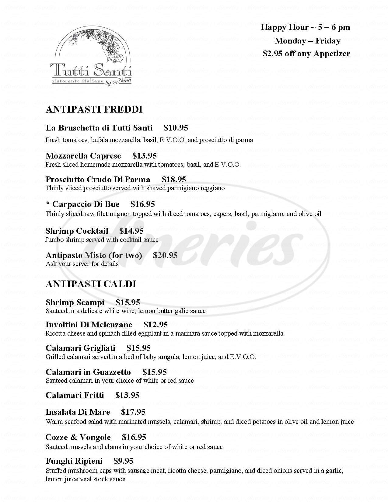 menu for Tutti Santi By Nina