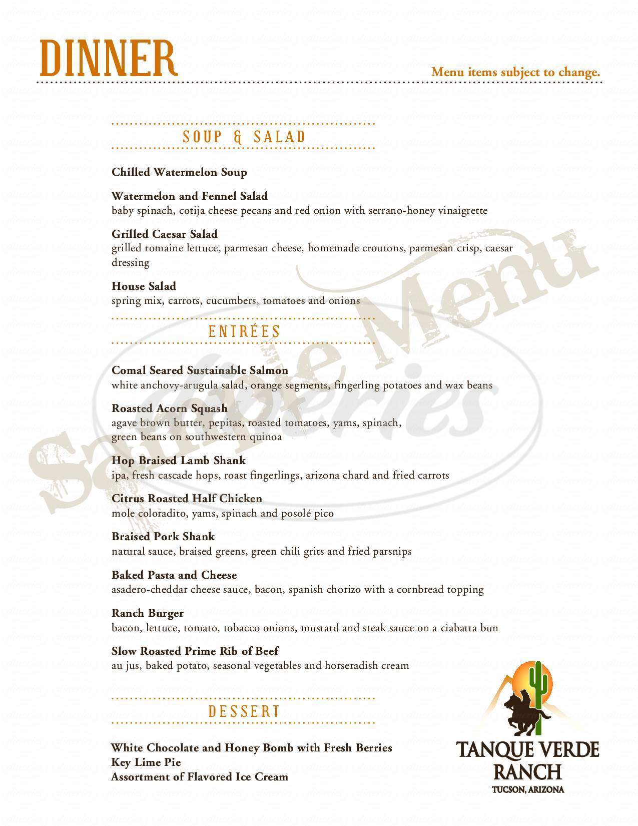 menu for Tanque Verde Guest Ranch