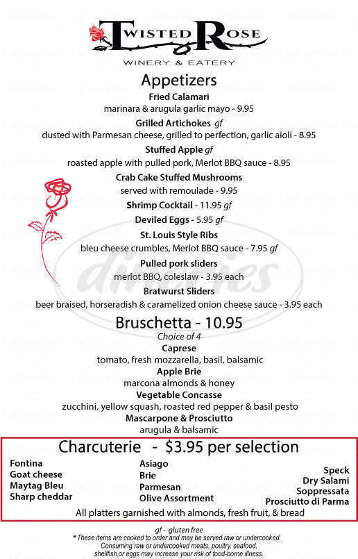 menu for Twisted Rose Winery and Eatery