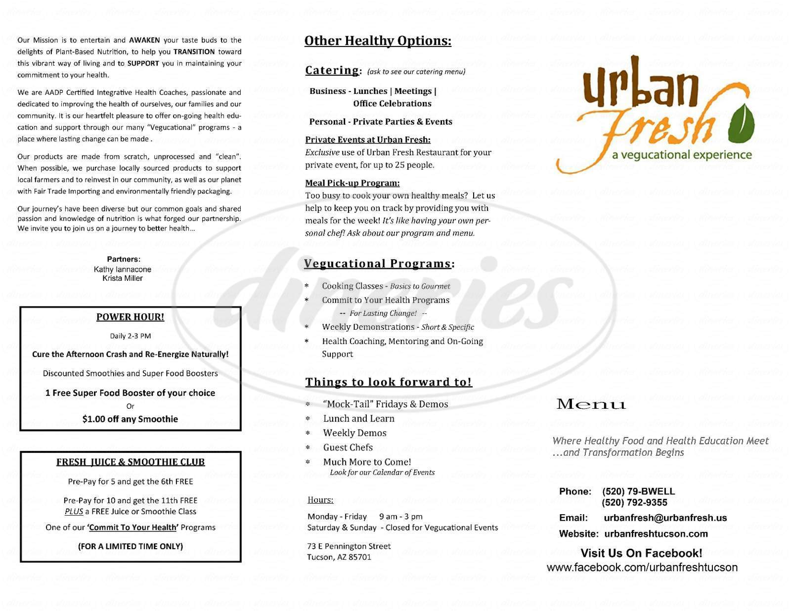 menu for Urban Fresh