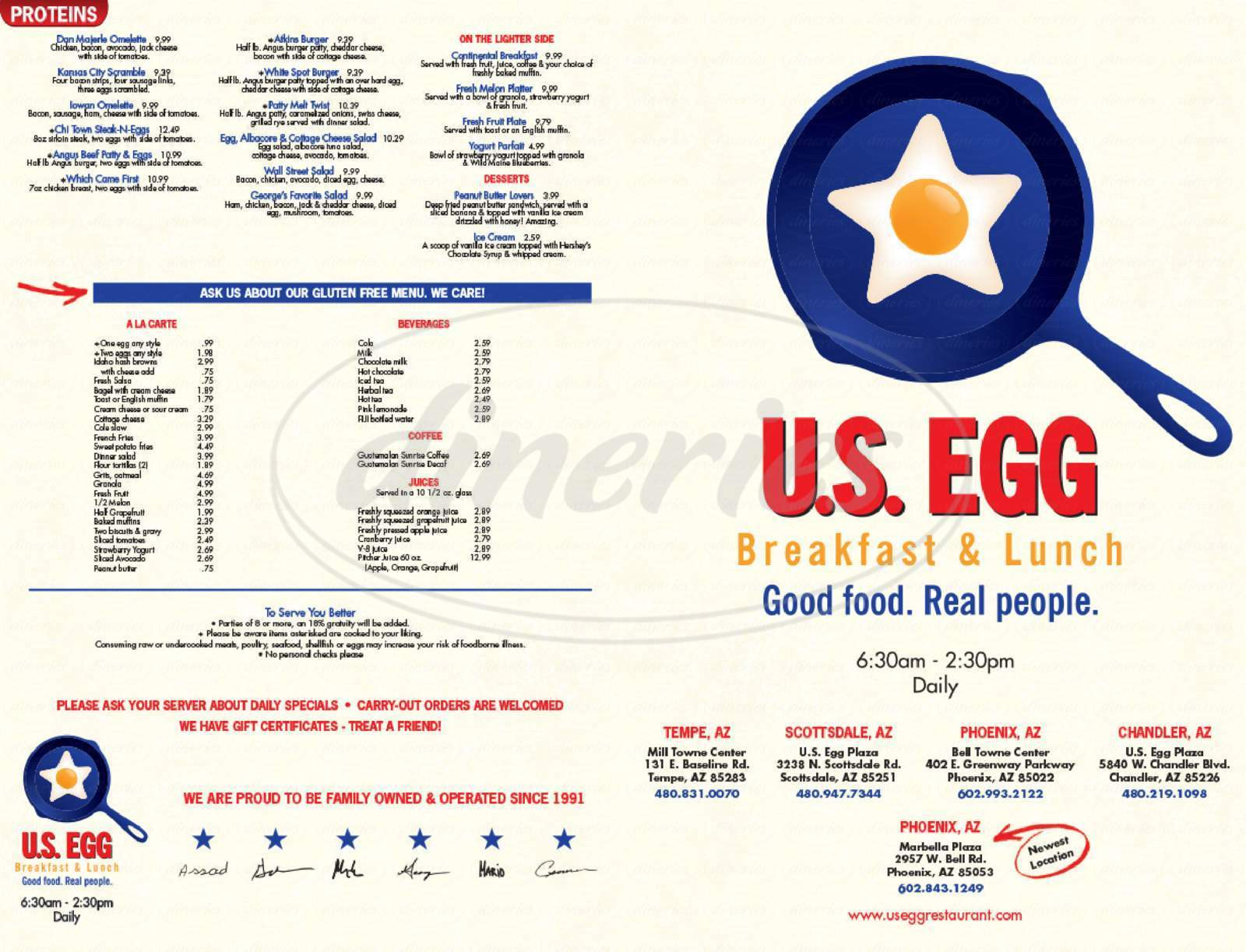 menu for U.S. Egg