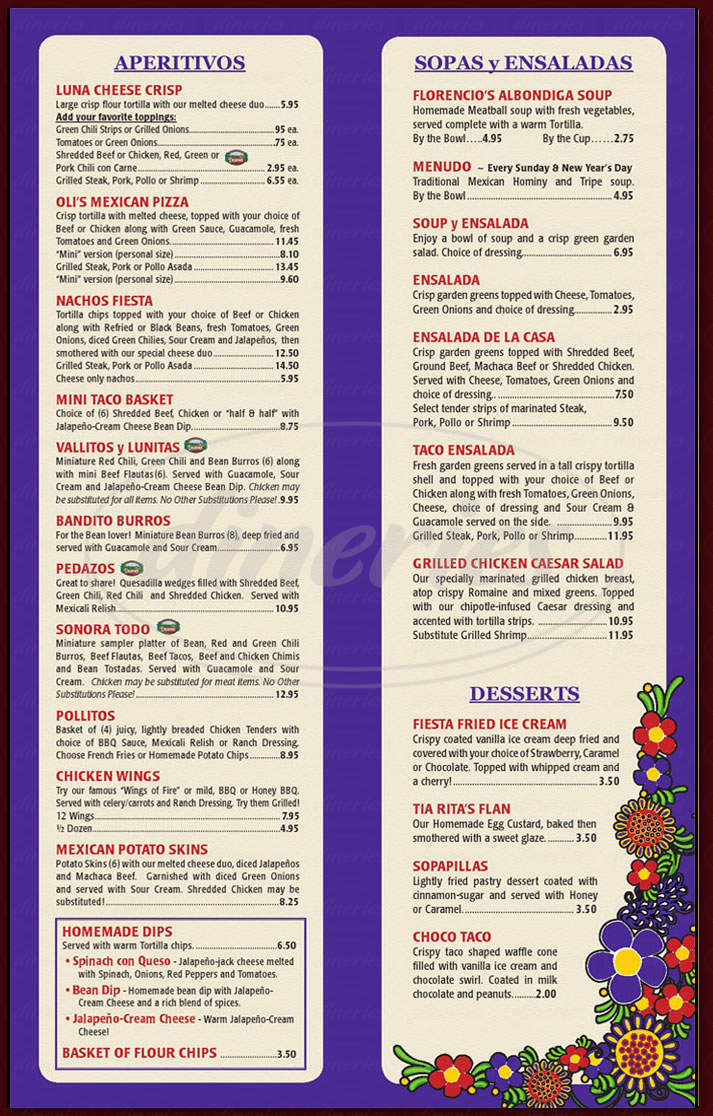 menu for Valle Luna Mexican Restaurant