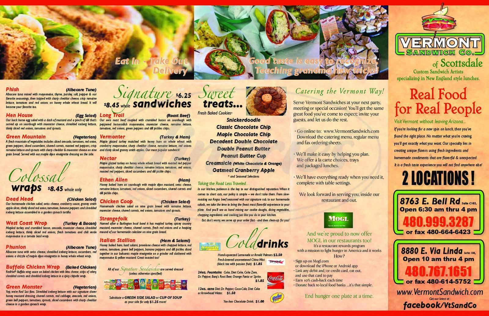 menu for Vermont Sandwich Company