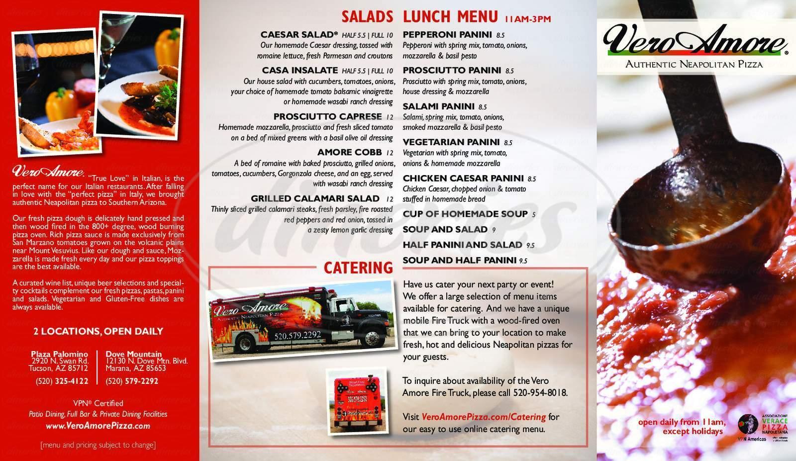 menu for Vero Amore