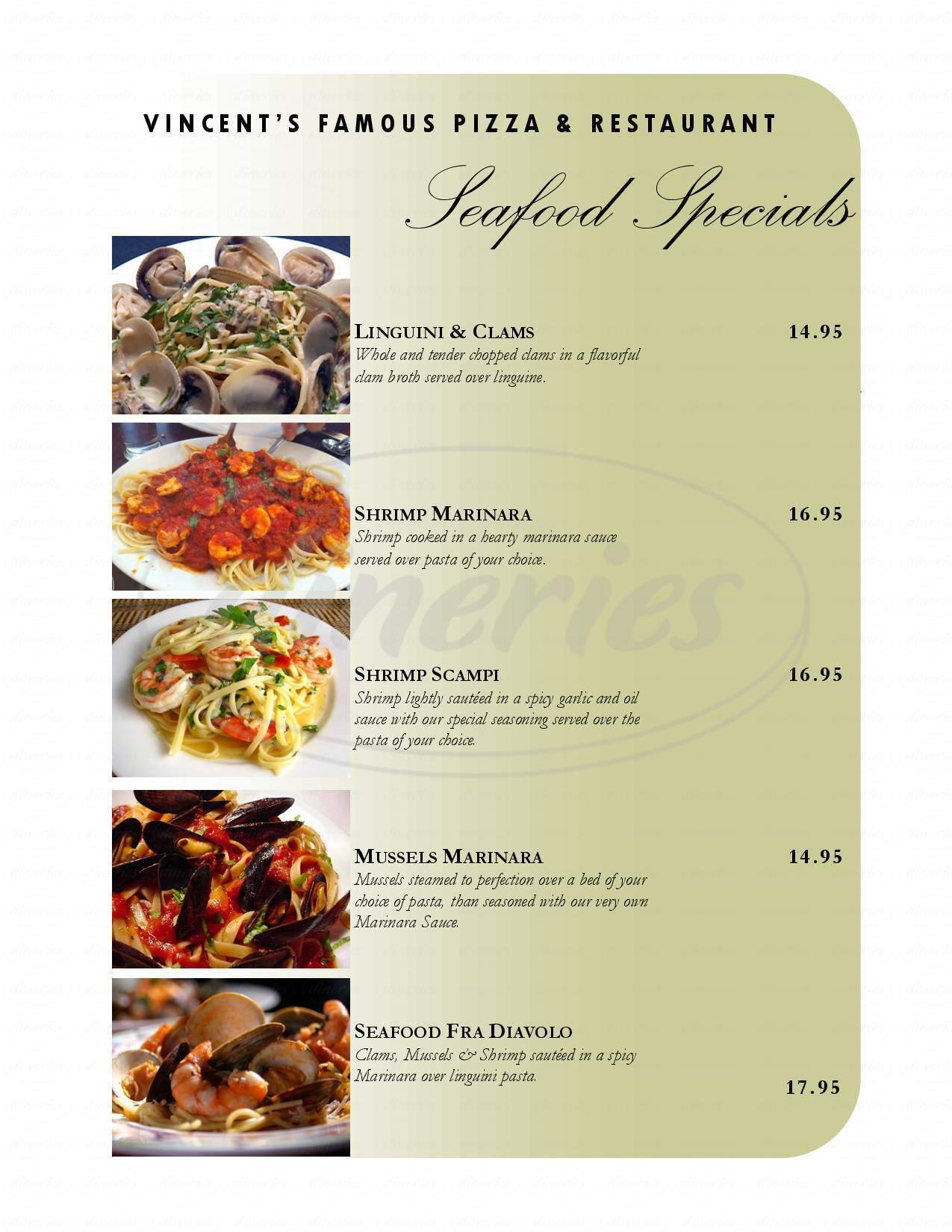 menu for Vincent's