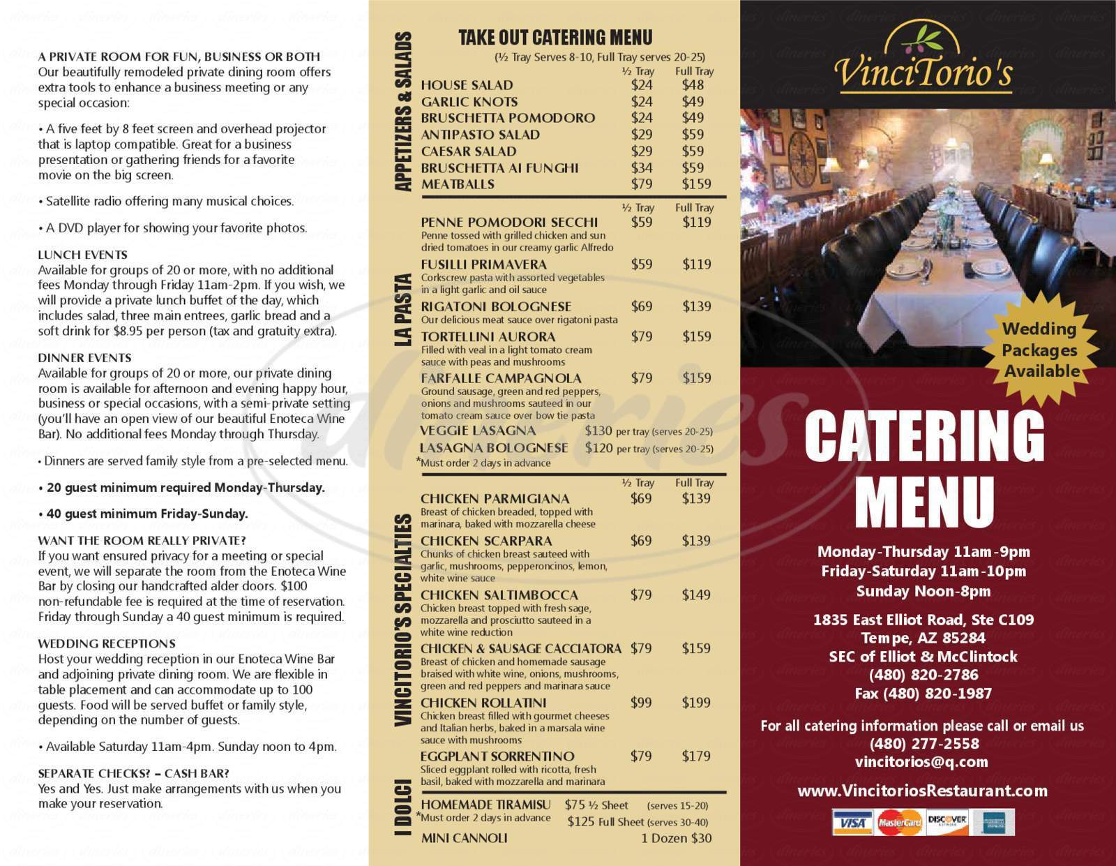 menu for VinciTorio's Restaurant