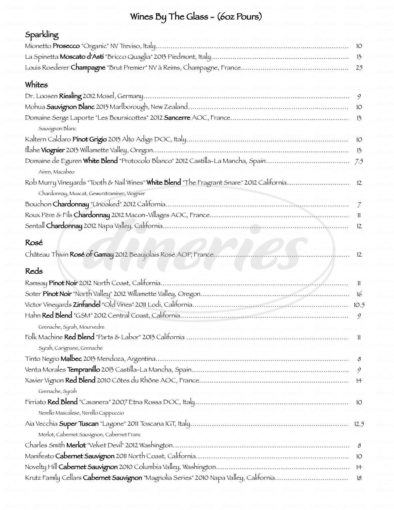 menu for Vintage 95