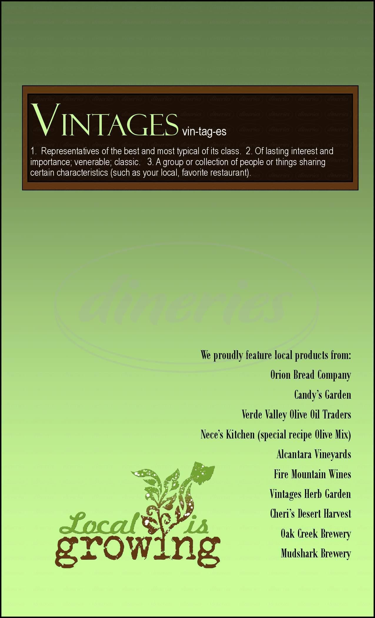 menu for Vintages Grille