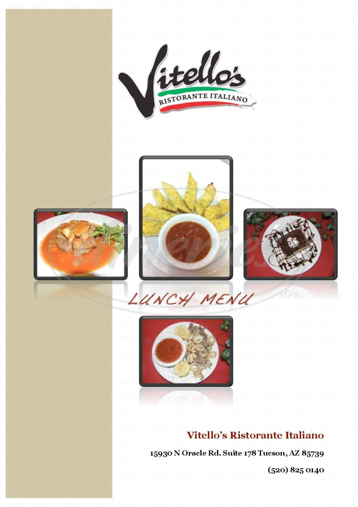 menu for Vitello's