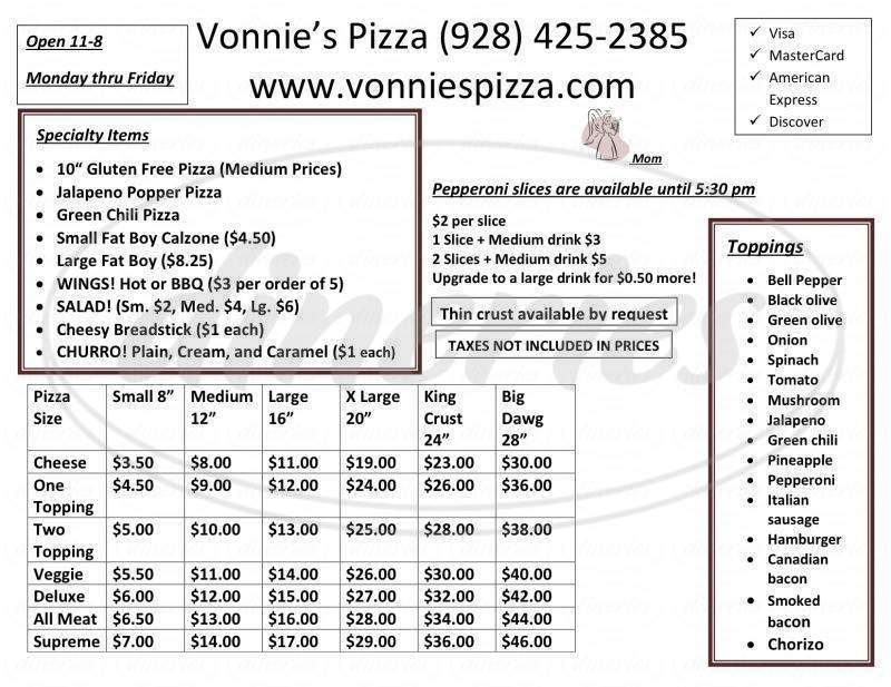 menu for Vonnie's Pizza