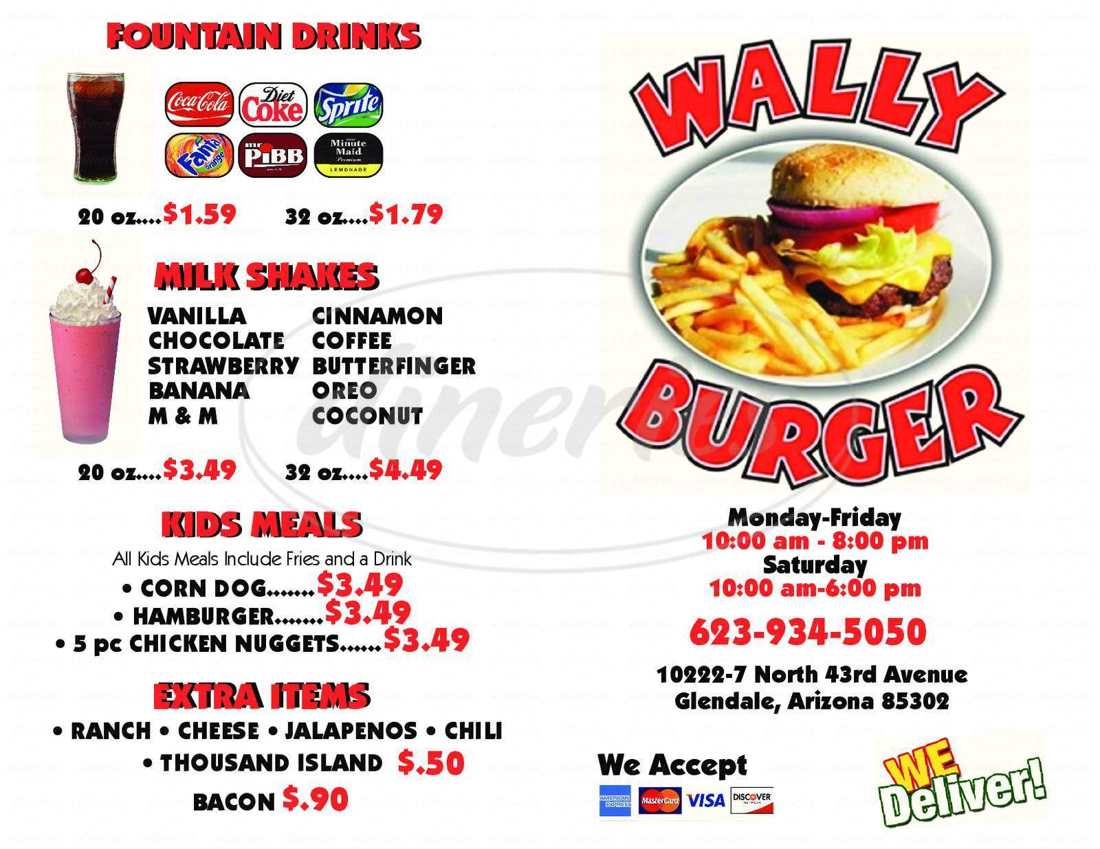 menu for Wally Burger