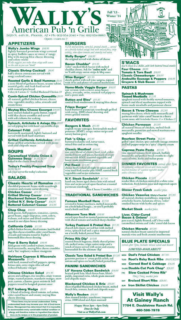 menu for Wally's' American Pub N Grill