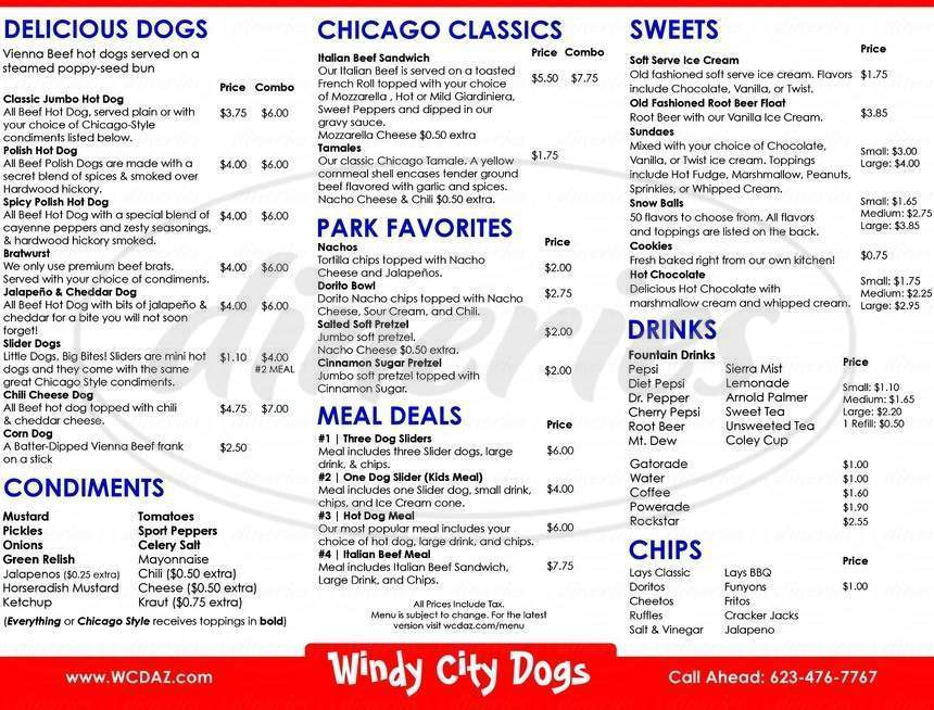menu for Windy City Dogs