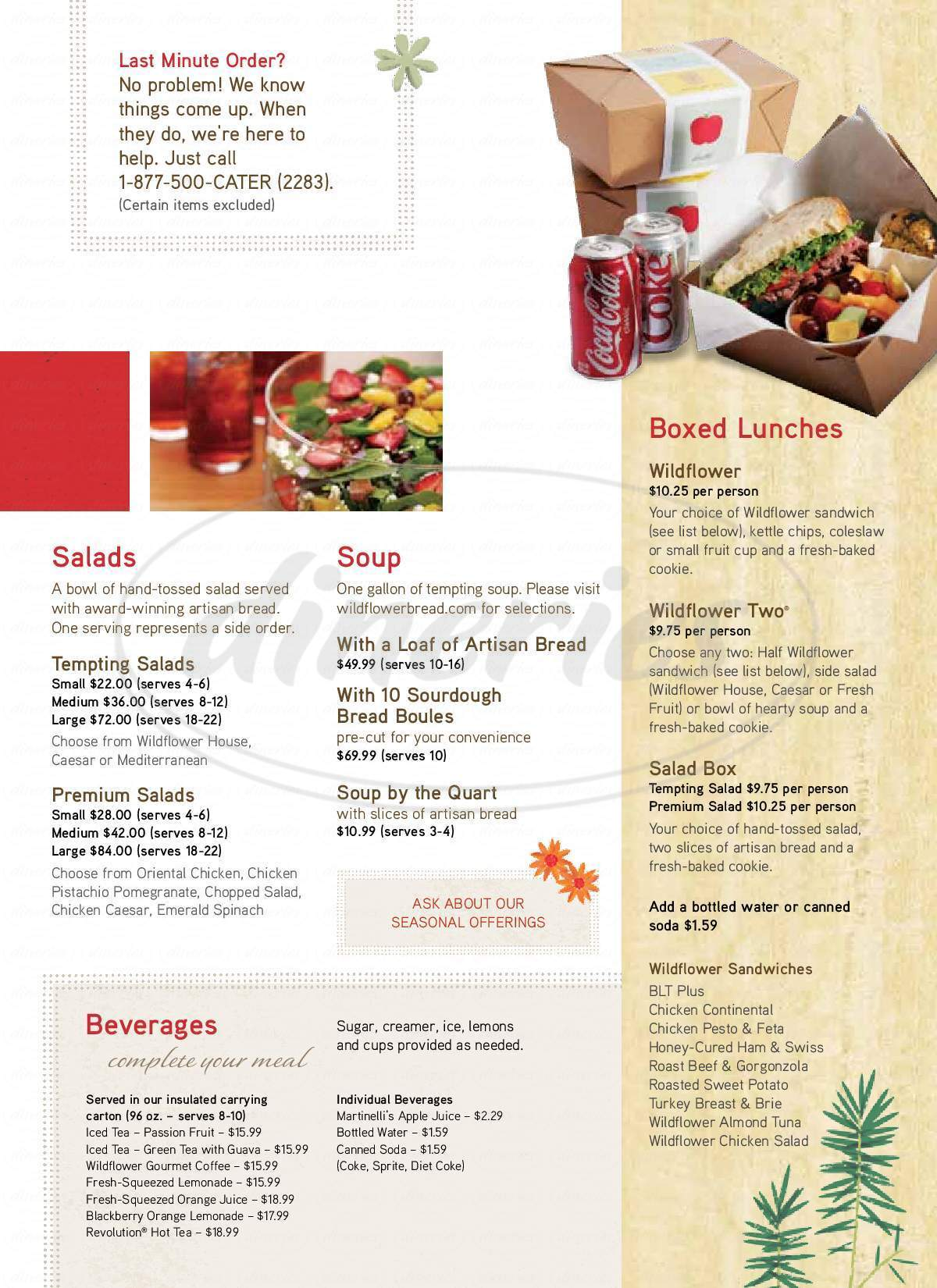 menu for Wildflower Bread Company