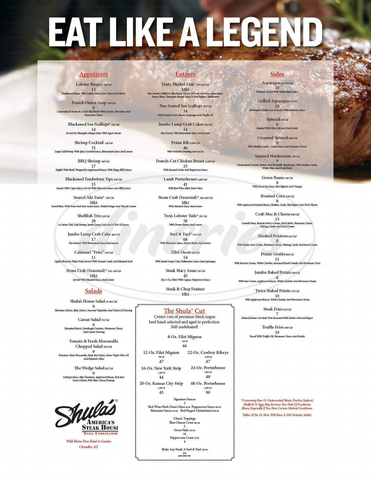 menu for Shula's Steak House