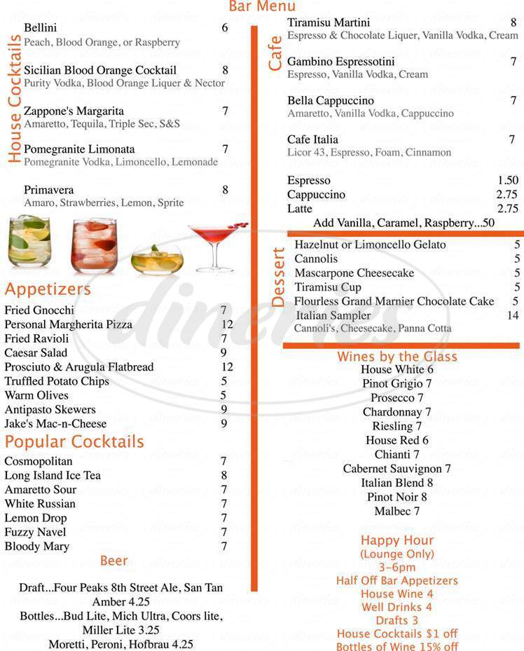 menu for Zappone's Italian Bistro