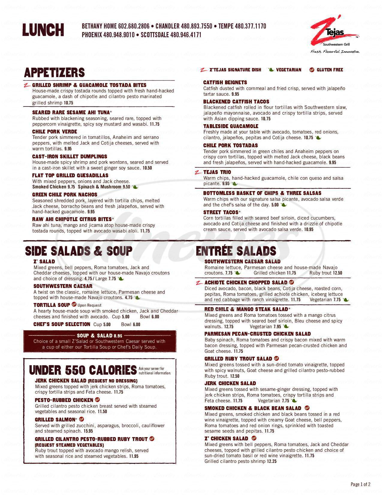menu for Z'Tejas Southwestern Grill