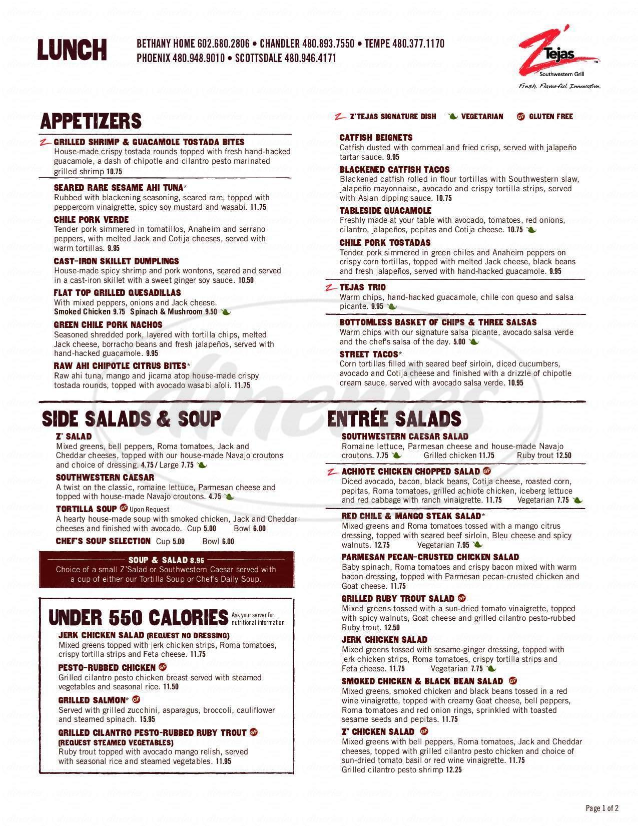 menu for Z'Tejas Southwestern Grill